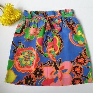 Lilly Pulitzer Blue vibrant silk mini skirt size S